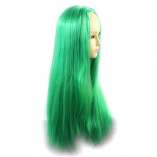 Wiwigs ® Romantic Long Straight Wig Green & Light Green Dip-Dye Ombre Hair UK