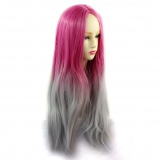 Wiwigs ® Romantic Long Straight Wig Grey & Dark Pink Dip-Dye Ombre Hair UK