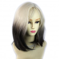 Wiwigs ® Wonderful Medium Bob Style Wig Light Blonde & Medium Brown Dip-Dye Ombre Hair Uk