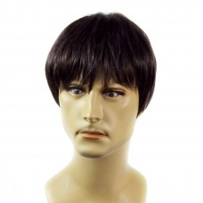 Heat Resistant Layered Long Bangs Cool Man Wig Short Brown & Auburn Men's Full Wigs