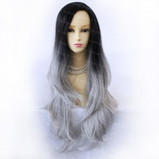 Wiwigs Gorgeous Long Wavy Wig Grey & Off Black Dip Dye Ombre Hair