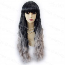Wonderful Wavy Black & Grey Long Lady Wigs Dip-Dye Ombre hair WIWIGS.