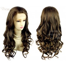 Sexy Beautiful French Lace Front wig Brown mix Blonde Curly Long Ladies Wigs UK