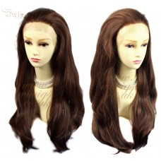 Sexy Beautiful French Lace Front wig Layered Wavy Brown & Red Long Ladies Wigs