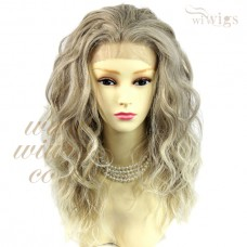 AMAZING Beautiful Lace Front wig Light ash brown mix Curly Long Ladies Wigs UK