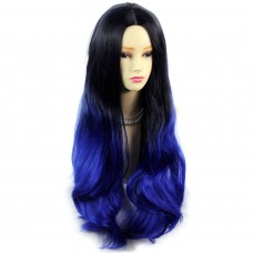 Long Wavy Lady Wigs Black Brown & Blue Dip-Dye Ombre hair WIWIGS