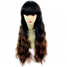 Wonderful Wavy Black Brown & Red Long Lady Wigs Dip-Dye Ombre hair WIWIGS.