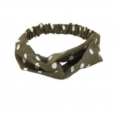 Polka Dot Twist Knot Hairband In Olive Green