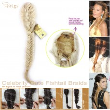 Celebrity Cute Light Blonde Fishtail Braids clip in Ponytail Plaited Hair Extensions DIY