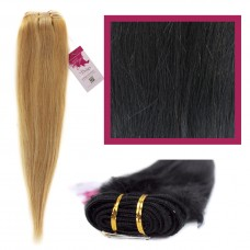 "DIY Double Weft Lush 'Off Black' 16"" Hair Extensions Deluxe Human Hair."