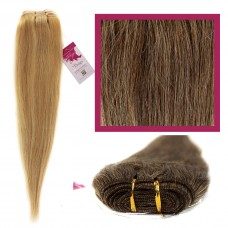 "DIY Double Weft Lush 'Med Brown Honey Blonde Mix' 18"" Hair Extensions Deluxe Human Hair."