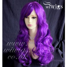 Sexy Beautiful Heat Resistant Purple Long Curly Cosplay Ladies Wigs UK