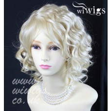 Lovely Short Curly Pale Blonde Summer Style Skin Top Ladies Wigs