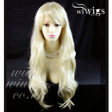Stunning Heat Resistant XXX Long Wavy Pale Blonde Ladies Wigs Skin top BANGS UK