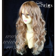 Fabulous Long Curly Blonde mix Auburn Heat Resistant Ladies Wigs from WIWIGS UK