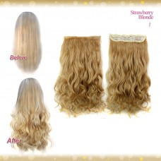 Half head 1 Piece clip In Curly Strawberry Blonde Hair Extensions UK
