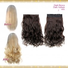Half head 1 Piece clip In Curly Auburn mix Brown Black Hair Extensions UK