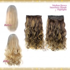 Half head 1 Piece clip In Curly Medium Brown Strawberry Blonde Highlights Hair Extensions UK