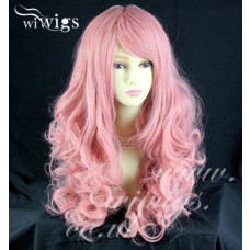 Stunning Long Curly Pink Ladies Wigs Skin Top Cosplay Wig ! WIWIGS UK