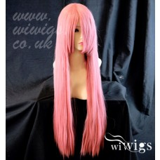 Heat Resistant Cosplay Long Layes Straight Milk Pink Ladies Wigs Skin Top UK