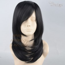 Beautiful Medium Long Wavy wig Natural Jet Black Wigs UK
