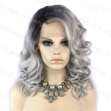 Wiwigs Ombre 2 Tones Lace Front Wig Curly Dark Roots Long Silver Grey Hair