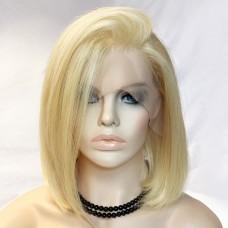 "Remy Human12"" Bob Blonde Hair Lace Front Ladies Wigs"
