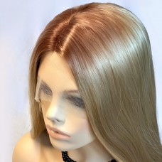 Wiwigs Ombre 2 Tones Lace Front Wig Straight Brown Roots Long Blonde Hair