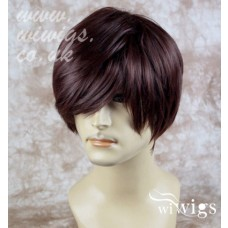 Classic Handsome Layered Long Bangs Man Wig Short Dark Auburn Men's Full Wig