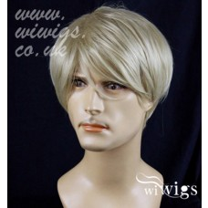 Heat Resistant Layered Bangs Man Wig Short Blonde Mix Men's Full Wigs
