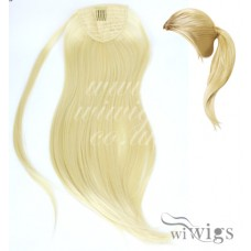 Ladies 1 Piece Clip Pale Blonde Straight Ponytail Wrap around Pony UK