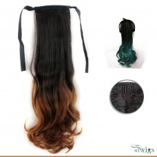 Black Brown & Red Dip-Dye Ombre Wavy Hairpiece Ponytail Extension UK
