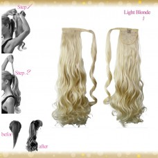 Wrap Around Clip In Pony Curly Light Blonde Hair Extension UK