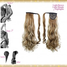 Wrap Around Clip In Pony Curly Light Brown Light Blonde Highlights Hair Extension UK