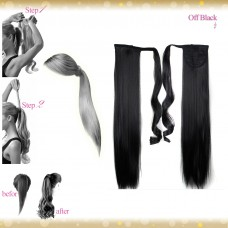 Wrap Around Clip In Pony Straight Off Black Hair Extension UK