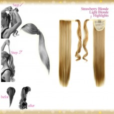 Wrap Around Clip In Pony Straight Strawberry Blonde Light Blonde Highlights Hair Extension UK