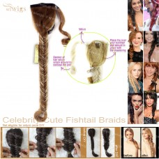 Celebrity Cute Strawberry Blonde Light Blonde Highlights Fishtail Braids Velcro Wrap Ponytail Plaited Hair Extensions