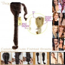 Celebrity Cute Medium Brown Auburn Mix Fishtail Braids Velcro Wrap Ponytail Plaited Hair Extensions