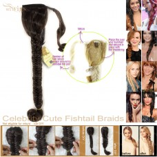 Celebrity Cute Light Brown Fishtail Braids Velcro Wrap Ponytail Plaited Hair Extensions