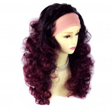 AMAZING Black Brown & Burgundy Long 3/4 Fall Wig Hairpiece Curly Dip-Dye Ombre hair from WIWIGS UK