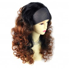 AMAZING Black Brown & Red Long 3/4 Fall Wig Hairpiece Curly Dip-Dye Ombre hair from WIWIGS UK