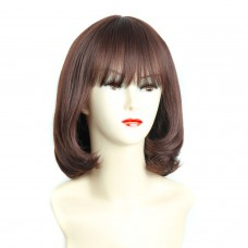 Wiwigs ® Pretty Short Bob Full Hire with Fringe Dark Brown & Red Ladies Wigs