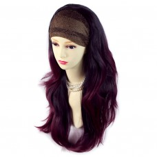 AMAZING Black Brown & Burgundy Long 3/4 Fall Wig Hairpiece Wavy Dip-Dye Ombre hair from WIWIGS UK