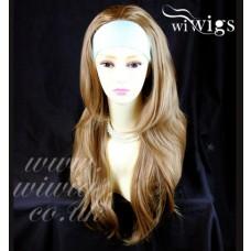 NEW Golden Blonde mix Long 3/4 Wig Fall Hairpiece Wavy Layered Hair Piece UK