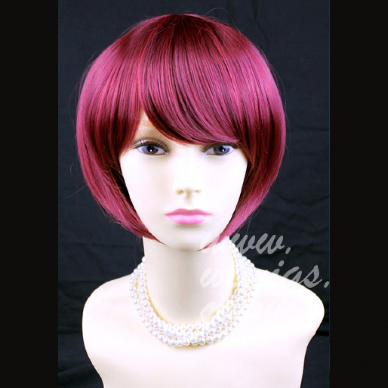 Classy Short Bob Skin Top Burgundy Red mix Lady Wig UK 1239