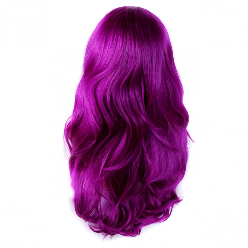 Wiwigs Purple Red Long 3 4 Wig Fall Hairpiece Wavy